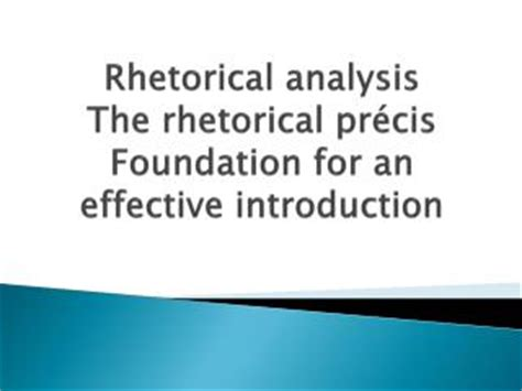 Rhetorical analysis of an argument essay